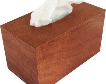 Tissue box cover rectangular size fits Kleenex and Puffs boxes in natural mahogany wood veneers.