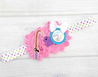 Daddy's girl bow - Fish headband - Fish hair bow - Daddy's fishing buddy - Fish clip - Colorful headband - Gifts for baby - Fishing baby