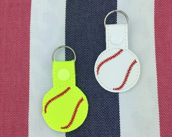 Baseball or Softball Snaptab - sport ball style keychain