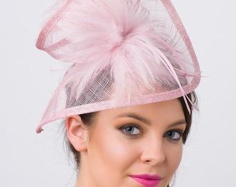 "Mauve Fascinator - ""Victoria"" Mauve Twist Mesh Fascinator Hat Headband with Flighty Feathers"