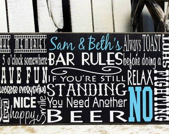 5th Anniversary Gift for him on Wood, Personalized Bar Rules Sign Man Gift, Man Cave Sign, Bar Sign, Bar Rules Sign, Wood Sign