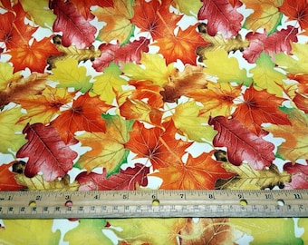 Harvest Bounty Multi Color Leaves on Cream with Gold Metallic Outlines cotton quilting fabric from Quilting Treasures