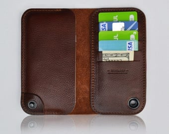 LG G6 leather wallet case - 100% Italian cow hide leather