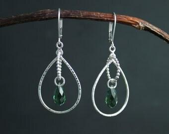 Green Crystal Dangle Earrings in Sterling Silver, Swarovski Crystal Element Briolette, Dangle Briolette Earrings, Ready to Ship Earrings