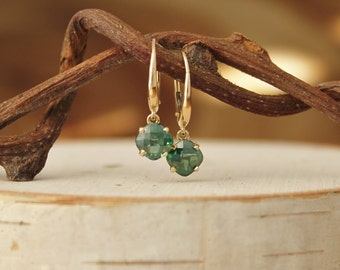 Spring Green Topaz Earrings, 14k Yellow Gold Earrings, Cushion Cut Green Topaz, Leverback Earrings, Green Gemstone Earrings, Ready to Ship