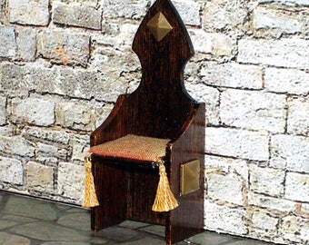 Throne Chair, Medieval Dollhouse Miniature, 1/24 Scale Size, Hand Made