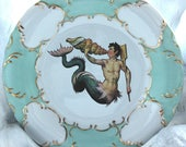 "Green or Blue & Gold Mermaid / Merman Plate, 10.5"", Foodsafe, Durable, Mermaid Plates, Merman Plate, Mermaid Dish, Mermaid China, Nautical"