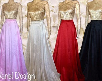 Sequins Bodice Crop-Top Two Piece Prom Bridesmaids Gown Two Piece Long Dress Maxi Skirt with pockets Elegant Famous skirt formal pleated