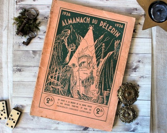 "Antique french religious ""Almanach du pélerin"" catholic book pilgrim's almanach 1936 1930s french country shabby chic illustration"