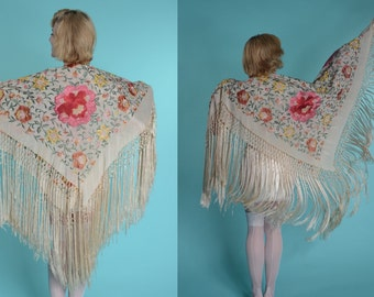 1930s Silk Fringe Piano Shawl - Embroidered Floral Scarf - Bridal Fashions