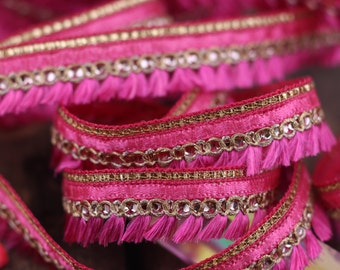 "Pretty in Pink Fringed Tassel Trim, Boho Retro Small Tiny Trimming, Skinny Indian Ribbon, Valentine's Day Craft Supplies, 1 Yard x 3/4"""