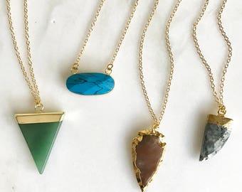 Gemstone Layering Necklace - Short Style. Layering Pendant Necklace. Gemstone Jewelry.