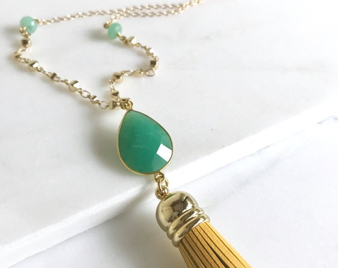 Tassel Necklace Mustard Yellow and Chrysoprase. Leather Tassel.  Long Gold Tassel Necklace. Gold Tassel Necklace.  Boho Style Necklace.