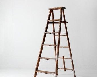 SALE vintage painter's ladder, wood ladder, tall folding ladder