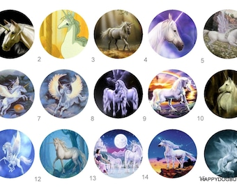 Unicorn Pinback Button Flatback Badge or Magnet 1 inch set of 10