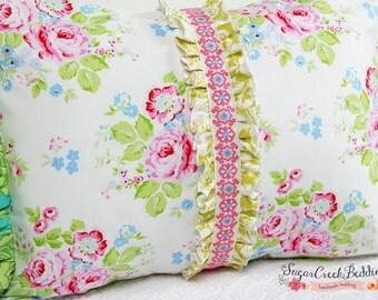 ABIGAIL Center Ruffled Boudoir Pillow, Floral Accent Pillow