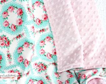 Emma's Floral Wreath, Blanket with Cuddle Soft Minky on other side.  Various Sizes Available.