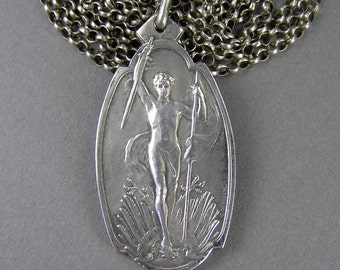 Belgian Hero Medal, WW1, Victory, Sterling Necklace, Schaerbeek Firing Range, 1914 to 1918, Edwardian, Muff Chain, Vintage Jewelry