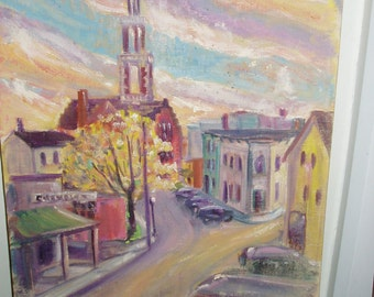 """Oil Painting, 1930's Village Scene, 18"""" by 24"""", Wonderful Colors"""