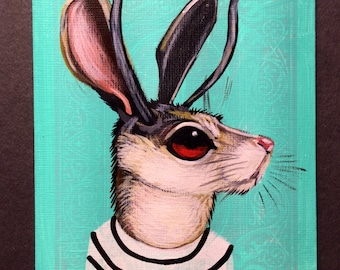 Jackalope portrait on a playing cards. 2017