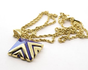 Vintage 14K Yellow Gold Croatian Lapis Azula Pendant Necklace- 22 Inch Rope Chain