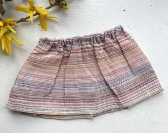 ADD ON || waldorf doll skirt, linen stripes