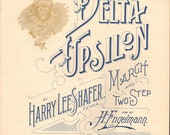 1896 DELTA UPSILON FRATERNITY Antique Sheet Music
