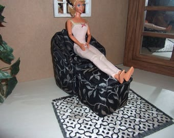 1:6th scale Barbie Handcrafted Upholstered Chair & Ottoman scaled for Barbie Living Room or  Bedroom