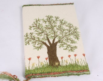 Fabric bookcover embroidered note book cover Tree of life journal cream coral floral Reusable sleeve 100% cotton notepads cover