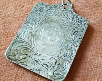 Sterling Vitorian Era Sterling silver small square mirror Keychain unique