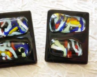 Art Glass fused Glass vintage Earrings