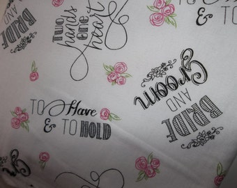 Bride and Groom Wedding love pillowcases PAIR romantic cuddly soft bedding winter linens