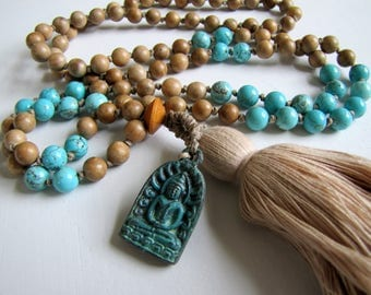 Mala Necklace Mala Tassel Necklace Mala Bead Necklace Mala Prayer Beads Hand Knotted Necklace Boho Jewelry Mala 108 Beads Healing Jewelry