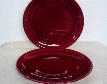 Paden City Pottery Company Oval and Round Serving Platter Set 1950s Burgandy