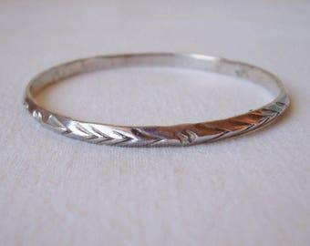 Sterling Silver Boho BANGLE Bracelet 17gr