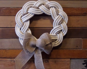 Cotton Rope Knotted Wreath Nautical Decor Door Hanging Holiday Decoration Beach Decor 16""