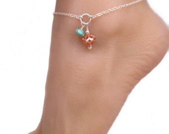 Adjustable Copper & Turquoise Nugget Silver Boho Ankle Bracelet Anklet, Additional Option of Toe Ring and Chain Available in this shop