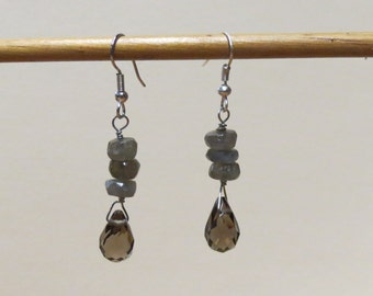 SALE Smokey brown quartz and blue-grey labradorite gemstone earrings.   #EAR-007