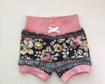 Black and Pink Floral Hipster Baby Shorts / Baby Girl Shorts / Bubble Shorts