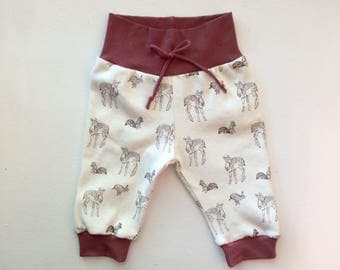 Hipster Baby Joggers / Baby Girl Joggers / Baby Boy Joggers / Bubble Pants / Sweat Pants / Woodland, Fawn, Deer, Rabbit, Bunny