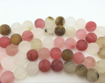 4mm / 6mm / 8 mm / 10mm / 12mm Round Matte Watermelon  15''L, 38 cm Loose beads Semiprecious Gemstone Bead Wholesale Beads Supply