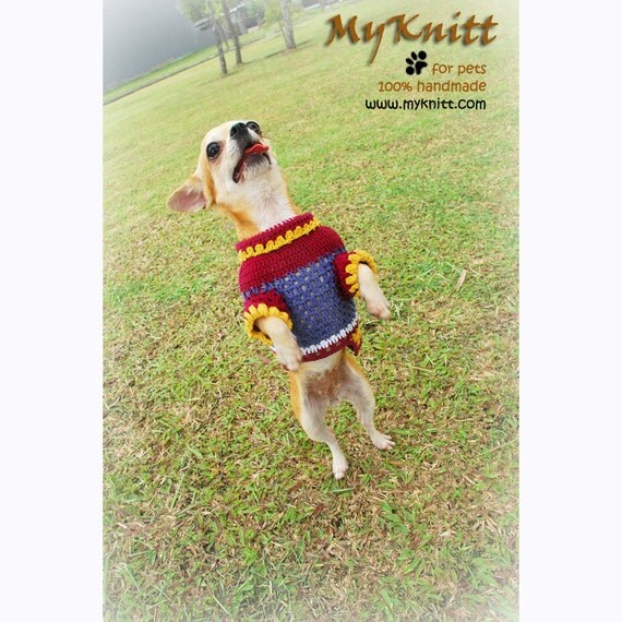 Brown Classic Soft Cotton Dog Clothing Puppies Clothes Pet Sweater Yorkie Jersey Handmade Crochet Knit DK817 Myknitt - Free Shipping