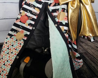 Carseat Canopy Floral Diamond Mint Minky and a Large Gold Bow