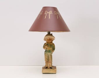 French Boy Blue Chalkware Figure, Cottage Chic Small Lamp
