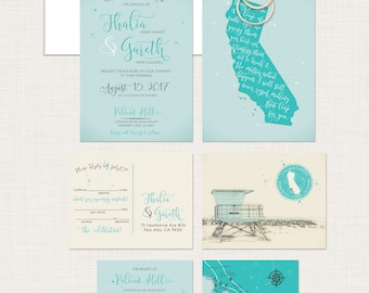 California Beach Wedding Invitation Suite In Blue Colors Newport Coast  Huntington Beach Los Angeles Lifeguard Tower
