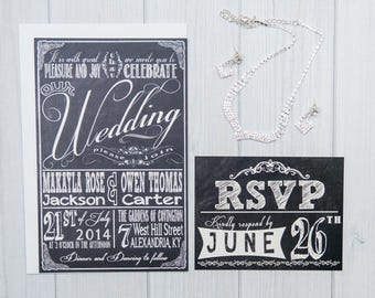 Chalkboard Wedding Invitation Set | Wedding Invites with RSVP cards and Return Address Labels | Retro Typography | Sample Set