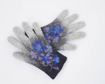Felted Gloves Merino wool Gray Black Blue Floral