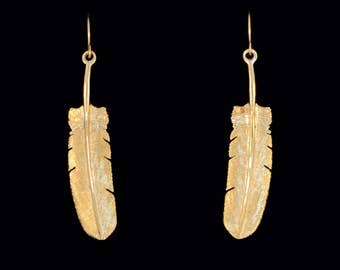 14k Yellow Gold Hawk Tail Feather Earrings