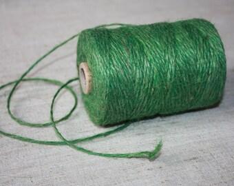 2 mm Green Jute Cord - Natural Jute - yards from spool