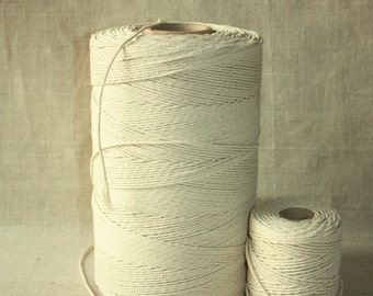 SALE 2,5 mm Cotton Rope= 1 Spool= 1094 Yard= 1000 Meter of Natural and Elegant Cotton Twisted CORD - Natural Soft White - Macrame Cord